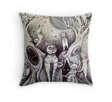 they danced under the light of the moon cat art Throw Pillow