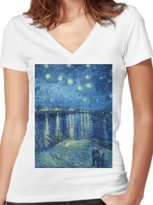 Vincent van Gogh - Starry Night over the Rhone Women's Fitted V-Neck T-Shirt