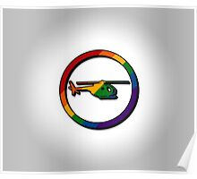 Rainbow Helicopter Icon Poster