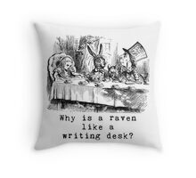 Why is a raven like a writing desk? Throw Pillow