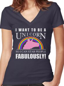 Unicorn Humor Women's Fitted V-Neck T-Shirt