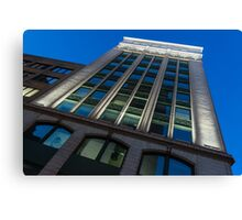 City Night Walks – White, Green and Blue Facade Canvas Print
