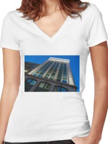 City Night Walks – White, Green and Blue Facade Women's Fitted V-Neck T-Shirt