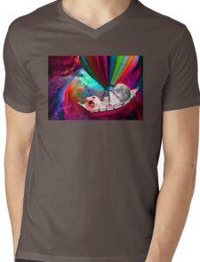 Galaxy Space Dog Mens V-Neck T-Shirt