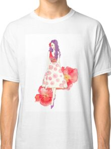 Drawing, watercolour, red, young girl, flowers Classic T-Shirt