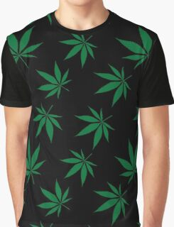 Weed Leaf Green on Black Graphic T-Shirt