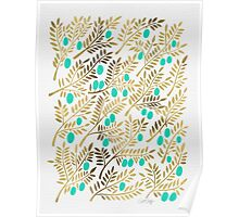 Gold & Turquoise Olive Branches Poster