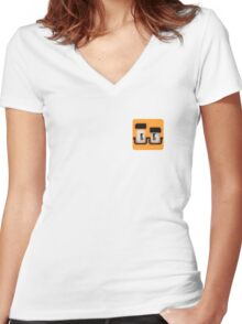 Quad Cube Women's Fitted V-Neck T-Shirt