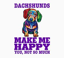 Dachshunds Make Me Happy.! Women's Fitted V-Neck T-Shirt