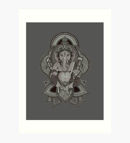 Ganesha - gray Art Print