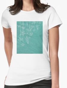 White Cranes Womens Fitted T-Shirt