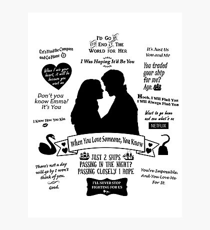 "Captain Swan ""Iconic Quotes"" Silhouette Design  Photographic Print"