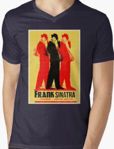 Frank Sinatra Letterpress Poster Mens V-Neck T-Shirt