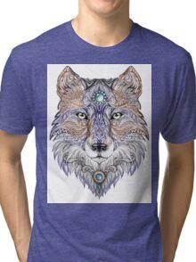 Head wolf wild beast of prey (color) Tri-blend T-Shirt