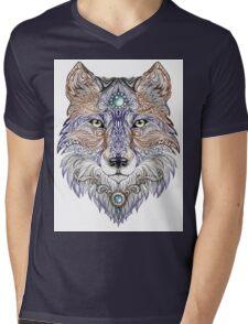Head wolf wild beast of prey (color) Mens V-Neck T-Shirt