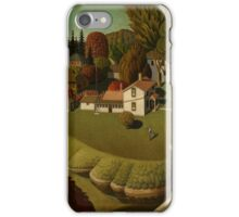 Grant Wood - Birthplace Of Herbert Hoover. Landscape iPhone Case/Skin