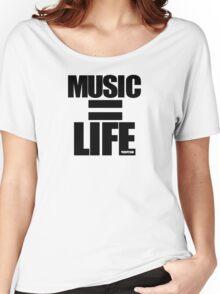 VURSAFIED - MUSIC = LIFE (BLACK) Women's Relaxed Fit T-Shirt