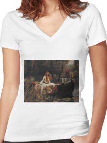 John William Waterhouse - The Lady of Shalott 1888 . Woman Portrait  Women's Fitted V-Neck T-Shirt