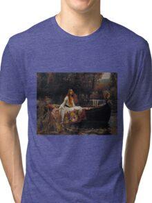 John William Waterhouse - The Lady of Shalott 1888 . Woman Portrait  Tri-blend T-Shirt