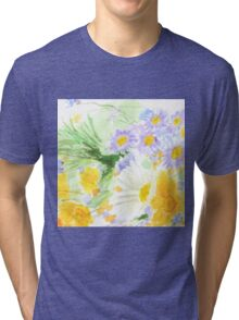 cheerful colorful wild flower  Tri-blend T-Shirt