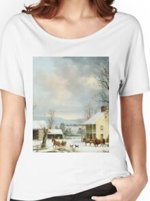 Vintage famous art - George Henry Durrie - Winter In The Country 1857 Women's Relaxed Fit T-Shirt