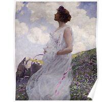 George Hitchcock - Calypso . Flowers. Woman Portrait . American Landscape Poster