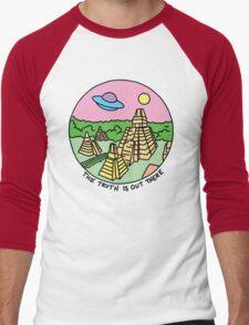 Mayan alien x-files scully mulder ufo pyramid egyptian pastel 90s tv Men's Baseball ¾ T-Shirt