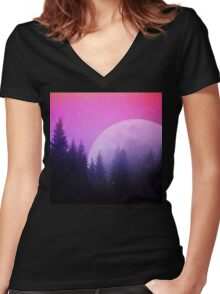 Cosmic Forest & Moon Women's Fitted V-Neck T-Shirt