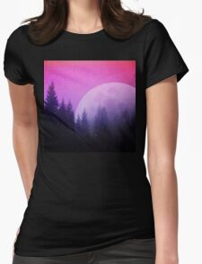 Cosmic Forest & Moon Womens Fitted T-Shirt
