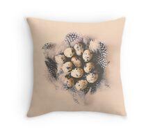 quail eggs nest Throw Pillow