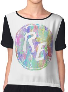 Rough Edit Splatter Logo Chiffon Top