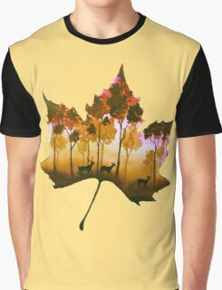 Forest Leaf Yellow Graphic T-Shirt