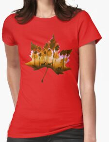 Forest Leaf Yellow Womens Fitted T-Shirt