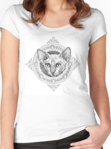 Head cats in the circle with patterns and ornaments Women's Fitted Scoop T-Shirt