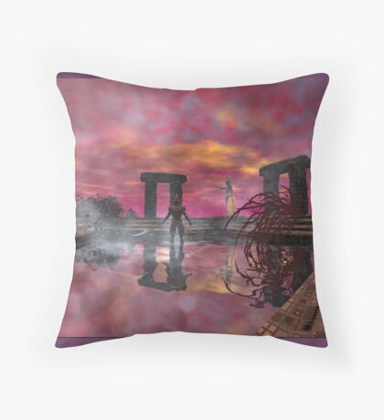TEMPLE OF WATER /HYPERION WORLD ,Sci-Fi Movie Throw Pillow
