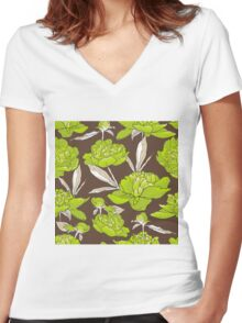 peonies  Women's Fitted V-Neck T-Shirt