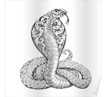 Snake cobra with a floral ornament on the open cowled Poster