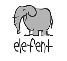 Funny Elephant Illustration Photographic Print