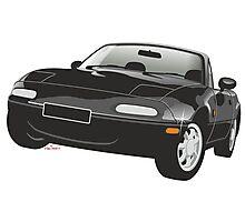 Mazda MX-5 Miata black Photographic Print