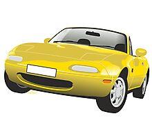 Mazda MX-5 Miata yellow Photographic Print