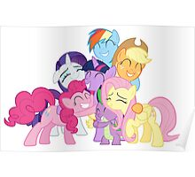 Mane Six and Spike group hug Poster