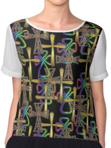 Cross Pattern (on black)  (other colours available) Chiffon Top