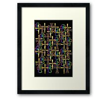 Cross Pattern (on black)  (other colours available) Framed Print