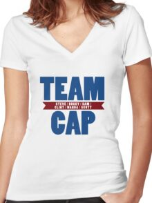 TEAM CAP Women's Fitted V-Neck T-Shirt