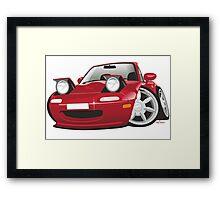 Mazda MX-5 Miata caricature red Framed Print