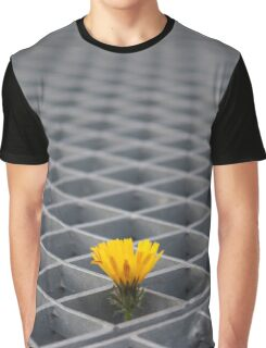Lonely yellow flower among metal grid Graphic T-Shirt