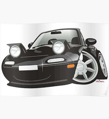Mazda MX-5 Miata caricature black Poster