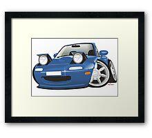 Mazda MX-5 Miata caricature blue Framed Print