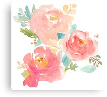 Peonies Watercolor Bouquet Canvas Print