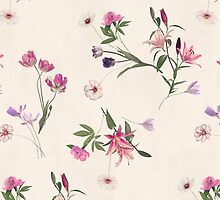 Scattered Floral on Cream by micklyn